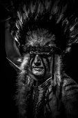 Conflict Native, American Indian chief with big feather headdress