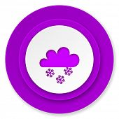 snowing icon, violet button, waether forecast sign