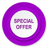 special offer icon, violet button