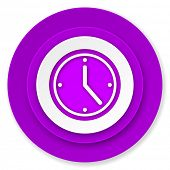 time icon, violet button, watch sign