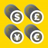 Vector dollar, euro, yen and pound icons. Signs set. Vector illustration.