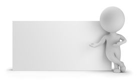 picture of 3d  - 3d small person standing near an empty board - JPG