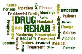 image of opiate  - Drug Rehab word cloud with White Background - JPG
