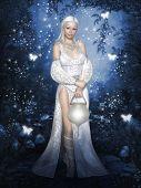 stock photo of fairy-mushroom  - White Fairy with a lamp in the night forest with stars and butterflies - JPG
