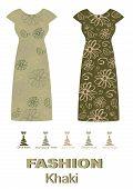 picture of khakis  - Fashion dress khaki color palette editable vector illustration - JPG