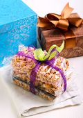 picture of crispy rice  - Puffed rice crispy bars wrapped as edible gift - JPG