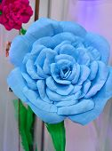 picture of paper craft  - Blue big paper flower handmade paper craft closeup - JPG