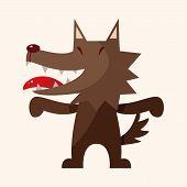 picture of cartoon animal  - animal wolf cartoon theme elements - JPG