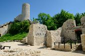 stock photo of reconstruction  - Mediaval castle ruins  - JPG