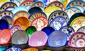 picture of pottery  - Traditional colorful ceramic pottery in Essaouira Morocco - JPG