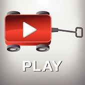 picture of wagon  - A Play Movie Button that is also a Little Red Wagon for Print or Web - JPG