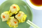 foto of siomai  - Shumai Chinese Steamed Pork Dumplings With Sauce on White Background - JPG