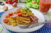 foto of french toast  - Scrambled eggs with bacon and French toast tomato and microgreens - JPG
