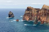 pic of atlantic ocean  - Coastline of Madeira Island with high cliffs along the Atlantic Ocean - JPG