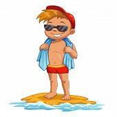 stock photo of sun-tanned  - Cute cartoon little boy on the beach - JPG