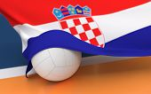 image of volleyball  - Flag of Croatia with championship volleyball ball on volleyball court - JPG