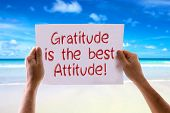 foto of gratitude  - Gratitude is the Best Attitude card with beach background - JPG