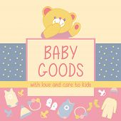 stock photo of baby bear  - Vector background with logo products for babies - JPG