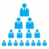 picture of human pyramid  - Pyramid Scheme made of businessman Flat Icons in blue color isolated on white - JPG