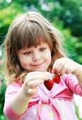 pic of strawberry blonde  - Little girl hold and eating  ripe strawberries - JPG