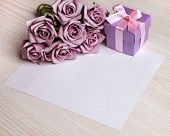 stock photo of purple rose  - blank card with a pen - JPG