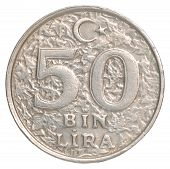 image of turkish lira  - Turkish 50 BinLira closeup isolated on white background - JPG