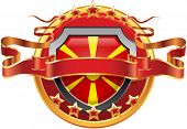 image of macedonia  - Shield with tape and with the stars and the flag of the Macedonia - JPG