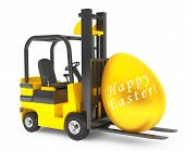 picture of lift truck  - Forklift Truck moves Golden Easter Egg on a white background - JPG