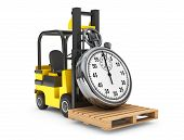 pic of lift truck  - Forklift truck with Stopwatch on a white background - JPG