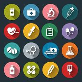stock photo of beaker  - Set of vector Medical Icons in flat style with long shadows - JPG
