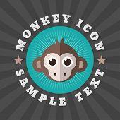 picture of monkeys  - Cute Monkey Icon In Flat Design Style - JPG