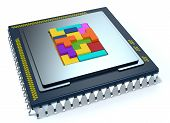 picture of cpu  - one CPU on white background the cpu is without the cover and there are some colored puzzle blocks  - JPG