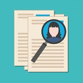 stock photo of recruiting  - Searching professional staff analyzing resume recruitment concept - JPG