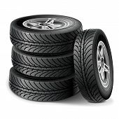 stock photo of four-wheel drive  - Car wheel set of four tires with disks - JPG