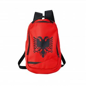 picture of albania  - Albania flag backpack isolated on white background - JPG