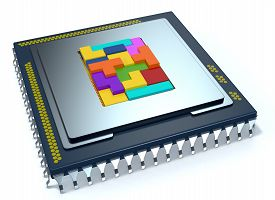 foto of cpu  - one CPU on white background the cpu is without the cover and there are some colored puzzle blocks  - JPG