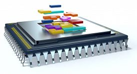 image of cpu  - one CPU on white background the cpu is without the cover and there are some colored puzzle blocks  - JPG