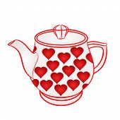 pic of teapot  - Teapot with red hearts part of porcelain vector illustration - JPG