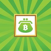 picture of bitcoin  - Image of purse with bitcoin symbol in golden frame - JPG