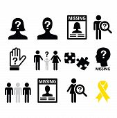 Missing people, missing child icons set poster