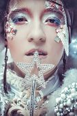 picture of snow queen  - Snow Queen over white background - JPG