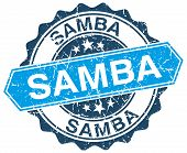 stock photo of samba  - samba blue round grunge stamp on white - JPG