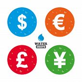 stock photo of yen  - Water drops on button - JPG