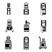 stock photo of boiling water  - Black contour vector icons for water cooler elements - JPG