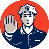 picture of policeman  - Illustration of a traffic policeman police officer holding hand up stop sign set inside circle done in retro style on isolated background - JPG