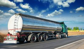 picture of tank truck  - Automotive fuel tankers shipping fuel - JPG