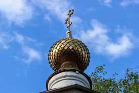 stock photo of epiphany  - Golden dome of the Church of Epiphany in the village Perhovo - JPG