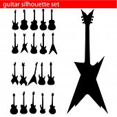 vector guitar silhouette set