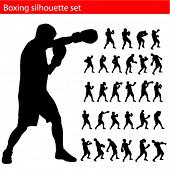 vector boxing silhouette set