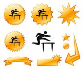 Hurdles Icon on Orange Burst Banners and Medals Original Vector Illustration
